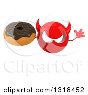 Clipart Of A 3d Red Devil Head Holding A Chocolate Glazed Donut And Jumping Royalty Free Illustration