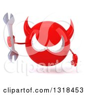 Clipart Of A 3d Red Devil Head Holding A Wrench Royalty Free Illustration