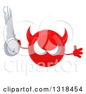 Clipart Of A 3d Red Devil Head Holding A Key And Jumping Royalty Free Illustration
