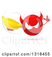 Clipart Of A 3d Red Devil Head Holding Up A Finger And A Banana Royalty Free Illustration