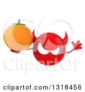 Clipart Of A 3d Red Devil Head Jumping And Holding A Navel Orange Royalty Free Illustration