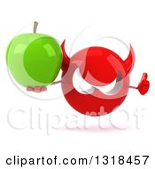 Clipart Of A 3d Red Devil Head Holding A Green Apple And Thumb Up Royalty Free Illustration