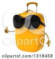Clipart Of A 3d Yellow Suitcase Character Wearing Sunglasses Facing Left And Giving A Thumb Up Royalty Free Illustration