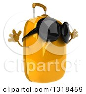 Clipart Of A 3d Yellow Suitcase Character Wearing Sunglasses Facing Right And Jumping Royalty Free Illustration