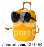 Clipart Of A 3d Yellow Suitcase Character Wearing Sunglasses And Presenting Royalty Free Illustration