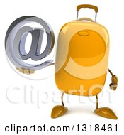 Clipart Of A 3d Yellow Suitcase Character Holding An Email Arobase At Symbol Royalty Free Illustration