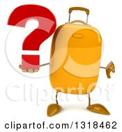 Clipart Of A 3d Yellow Suitcase Character Giving A Thumb Down And Holding A Question Mark Royalty Free Illustration by Julos