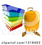 Clipart Of A 3d Yellow Suitcase Character Holding Up A Stack Of Books Royalty Free Illustration by Julos