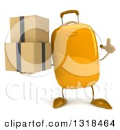 Clipart Of A 3d Yellow Suitcase Character Holding Up A Finger And Boxes Royalty Free Illustration by Julos