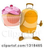 Clipart Of A 3d Yellow Suitcase Character Giving A Thumb Up And Holding A Pink Frosted Cupcake Royalty Free Illustration by Julos