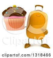 Clipart Of A 3d Yellow Suitcase Character Holding And Pointing To A Chocolate Frosted Cupcake Royalty Free Illustration by Julos