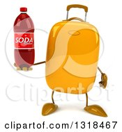 Clipart Of A 3d Yellow Suitcase Character Holding A Soda Bottle Royalty Free Illustration