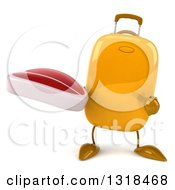Clipart Of A 3d Yellow Suitcase Character Holding And Pointing To A Beef Steak Royalty Free Illustration by Julos