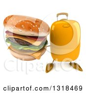 Clipart Of A 3d Yellow Suitcase Character Holding Up A Double Cheeseburger Royalty Free Illustration by Julos