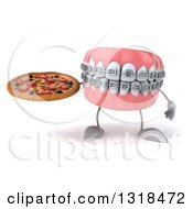 Clipart Of A 3d Metal Mouth Teeth Mascot With Braces Holding A Pizza Royalty Free Illustration