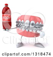 Clipart Of A 3d Metal Mouth Teeth Mascot With Braces Holding And Pointing To A Soda Bottle Royalty Free Illustration