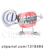 Clipart Of A 3d Metal Mouth Teeth Mascot With Braces Holding Up A Finger And An Email Arobase At Symbol Royalty Free Illustration