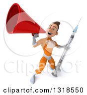 Clipart Of A 3d Young Brunette White Male Super Hero In An Orange Suit Holding A Giant Vaccine Syringe And Announcing Upwards With A Megaphone Royalty Free Illustration