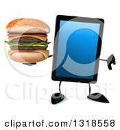 Clipart Of A 3d Tablet Computer Character Giving A Thumb Down And Holding A Double Cheeseburger Royalty Free Illustration