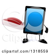Clipart Of A 3d Tablet Computer Character Holding A Beef Steak Royalty Free Illustration by Julos