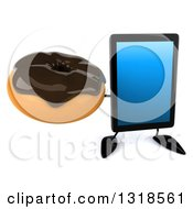 Clipart Of A 3d Tablet Computer Character Holding Up A Chocolate Glazed Donut Royalty Free Illustration by Julos