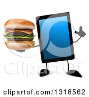 Clipart Of A 3d Tablet Computer Character Holding Up A Finger And A Double Cheeseburger Royalty Free Illustration