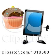 Clipart Of A 3d Tablet Computer Character Giving A Thumb Down And Holding A Chocolate Frosted Cupcake Royalty Free Illustration by Julos