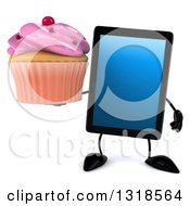 Clipart Of A 3d Tablet Computer Character Holding A Pink Frosted Cupcake Royalty Free Illustration by Julos