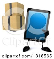 Clipart Of A 3d Tablet Computer Character Holding And Pointing To Boxes Royalty Free Illustration by Julos
