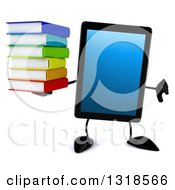 Clipart Of A 3d Tablet Computer Character Giving A Thumb Down And Holding A Stack Of Books Royalty Free Illustration by Julos