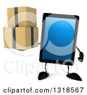 Clipart Of A 3d Tablet Computer Character Holding Boxes Royalty Free Illustration by Julos