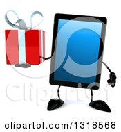 Clipart Of A 3d Tablet Computer Character Holding A Gift Royalty Free Illustration by Julos