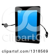 Clipart Of A 3d Tablet Computer Character Pointing To The Left Royalty Free Illustration by Julos
