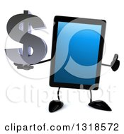 Clipart Of A 3d Tablet Computer Character Giving A Thumb Up And Holding A Dollar Symbol Royalty Free Illustration by Julos