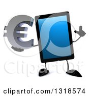 Clipart Of A 3d Tablet Computer Character Holding Up A Finger And A Euro Symbol Royalty Free Illustration by Julos