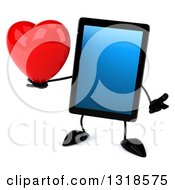 Clipart Of A 3d Tablet Computer Character Shrugging And Holding A Heart Royalty Free Illustration by Julos