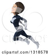 Clipart Of A 3d Brunette White Female Super Hero In A Black And White Suit Flying Up To The Left Royalty Free Illustration by Julos