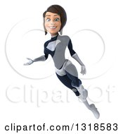 Clipart Of A 3d Brunette White Female Super Hero In A Black And White Suit Flying And Presenting Royalty Free Illustration by Julos