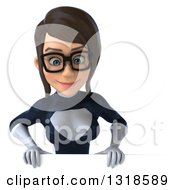 Clipart Of A 3d Bespectacled Brunette White Female Super Hero In A Black And White Suit Looking Down Over A Sign Royalty Free Illustration