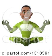 Clipart Of A 3d Young Black Male Super Hero In A Green Suit Meditating Royalty Free Illustration