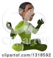 Clipart Of A 3d Young Black Male Super Hero In A Green Suit Facing Right And Meditating Royalty Free Illustration