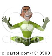 Clipart Of A 3d Surprised Young Black Male Super Hero In A Green Suit Meditating Royalty Free Illustration