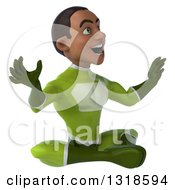 Clipart Of A 3d Surprised Young Black Male Super Hero In A Green Suit Facing Right And Meditating Royalty Free Illustration
