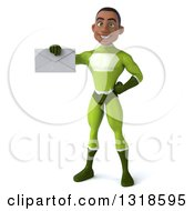 Clipart Of A 3d Young Black Male Super Hero In A Green Suit Holding An Envelope Royalty Free Illustration