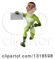 Clipart Of A 3d Young Black Male Super Hero In A Green Suit Sprinting And Holding An Envelope Royalty Free Illustration
