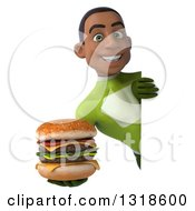 Clipart Of A 3d Young Black Male Super Hero In A Green Suit Holding A Double Cheeseburger Around A Sign Royalty Free Illustration