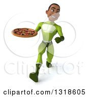 Clipart Of A 3d Young Black Male Super Hero In A Green Suit Speed Walking And Holding A Pizza Royalty Free Illustration