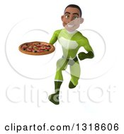 Clipart Of A 3d Young Black Male Super Hero In A Green Suit Sprinting And Holding A Pizza Royalty Free Illustration
