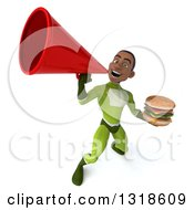 Clipart Of A 3d Young Black Male Super Hero In A Green Suit Holding A Double Cheeseburger And Announcing Upwards With A Megaphone Royalty Free Illustration