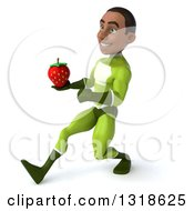 Clipart Of A 3d Young Black Male Super Hero In A Green Suit Speed Walking To The Left And Holding A Strawberry Royalty Free Illustration